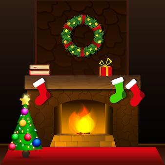 クリスマス暖炉カード