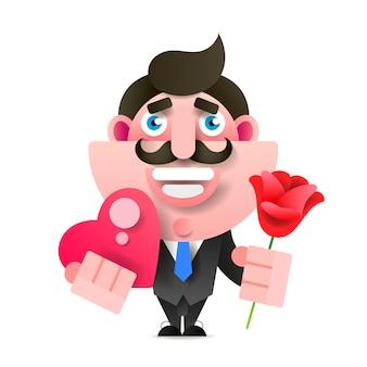 花とギフトを持ったビジネスマン。お誕生日おめでとうございます