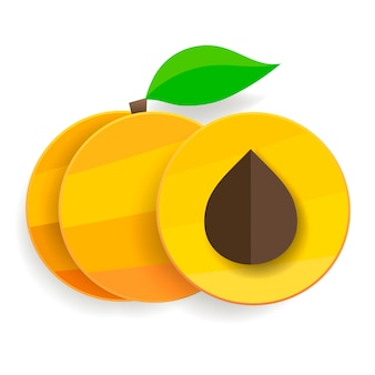 Плоские абрикосы в разрезе и целые с листьями.