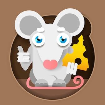 Мышь с сыром в лапке в бумажном стиле