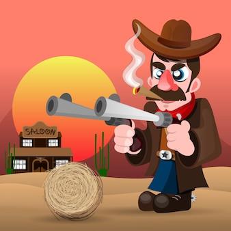 銃と帽子のベクトル図とカウボーイ