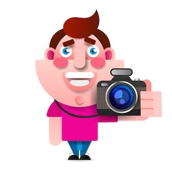 Векторный мультфильм стиль персонажа фотографа. изолированный
