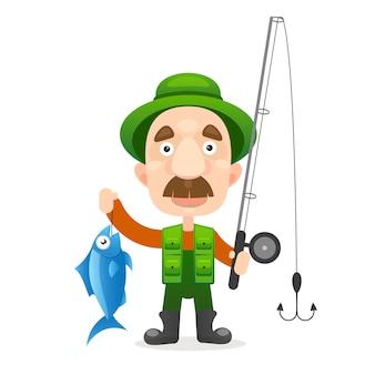 幸せな漁師キャラクターは大きな魚を抱えています。