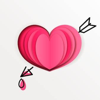 描かれた矢印ベクトルと白い背景の上のピンクの紙のハート