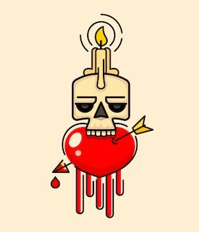 頭のベクトルにワックスの蝋燭とオールドスカル