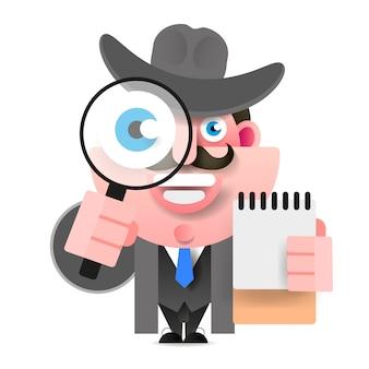 虫眼鏡を保持している探偵。ベクトルイラスト