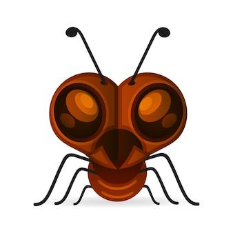 茶色のアリは白で隔離されます。昆虫のアイコン。