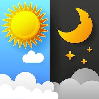 昼と夜のイラスト。日夜の概念、太陽と月