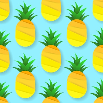 パイナップルと熱帯のシームレスパターン