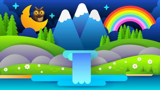 青い夜の山の風景と美しいイラスト。