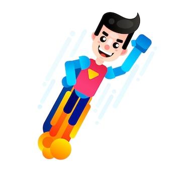 Векторная иллюстрация летающего супергероя, значок бизнес-власти