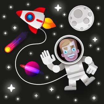Астронавт остается на планете или луне и приветствует нас.