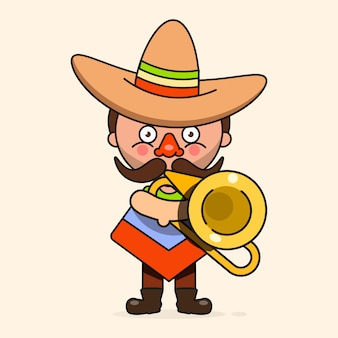 男性のネイティブの服とソンブレロとメキシコのミュージシャンイラスト