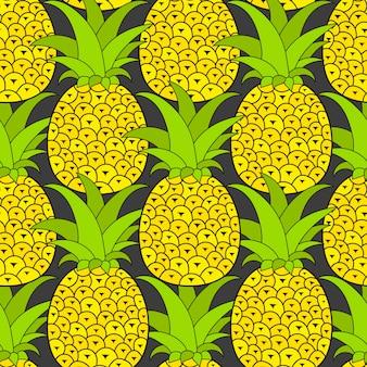 熱帯のパイナップルのシームレスパターン