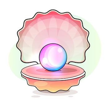 内部に真珠が入ったオープンシェル