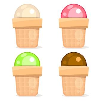 白い背景の上のアイスクリームセット