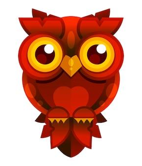 白地に赤いフクロウ