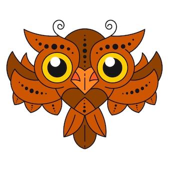 白い背景の上の羽を持つかわいい漫画フクロウ