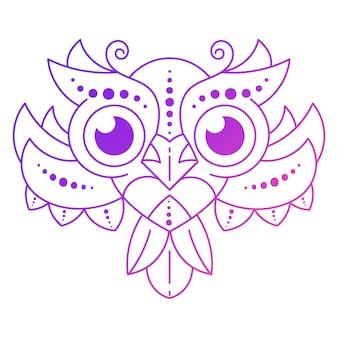 暗い背景に羽を持つかわいい漫画フクロウ