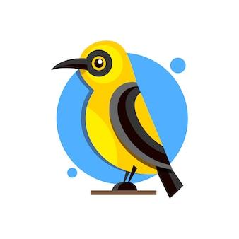 Птица иволга на ветке плоский стиль логотипа для дизайна.