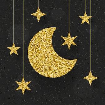 Иллюстрация золотой луны