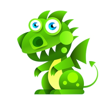 Забавный мультяшный маленький зеленый сидящий дракон.