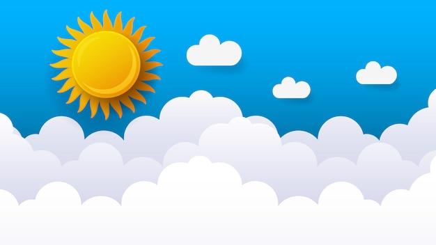 Иллюстрация неба с облаками и солнцем