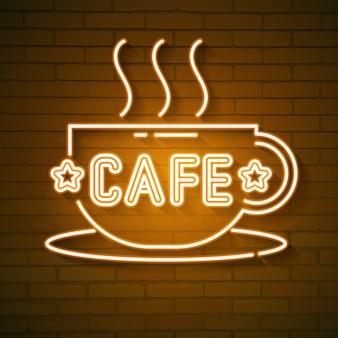 Кафе неоновый логотип