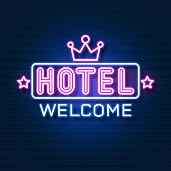 Реалистичная неоновая гостиница с неоновым логотипом.