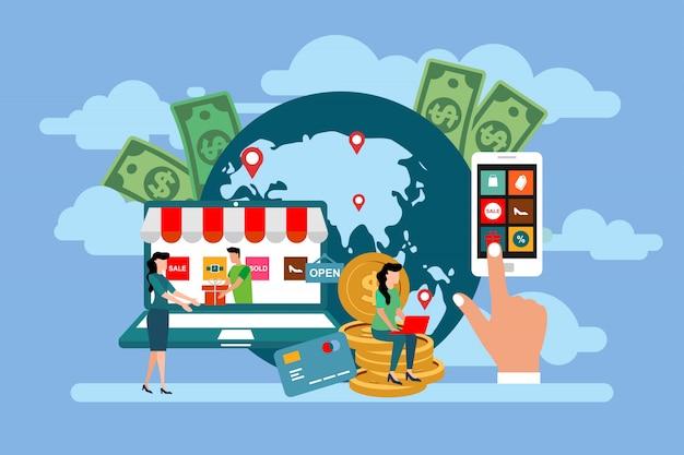 トランザクションの人物の概念。フラットスタイルの投資家はオンラインでアイデアを得る。