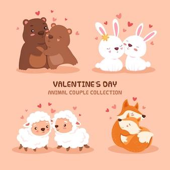 Симпатичный день святого валентина коллекция животных пара