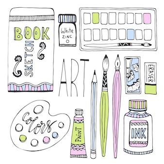 描画のための美術品。ペイント、パレット、スケッチブックなどの素材を使ったスケッチベクトルセット