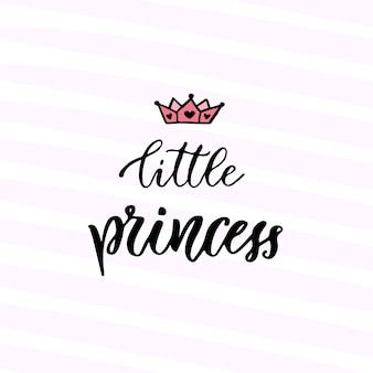 Современная векторная каллиграфия. маленькая принцесса. рукописная фраза. дизайн футболки для детей