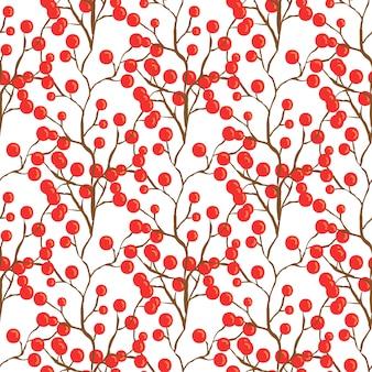 赤いベリーのパターン。織物ファブリックデザインのための秋のシームレスな背景。ベクタープリント