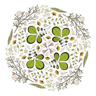 ベクトル円の花飾り。挨拶の装飾のためのデザイン