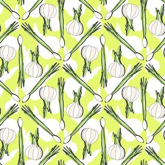 健康なニンニクとタマネギとシームレスなパターン。手描きのベクトルテクスチャ村農業野菜の印刷の背景。