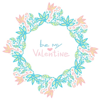 バレンタインデーの装飾。ベクトルのかわいい花のフレーム。クリエイティブな花の背景、パステルカラー