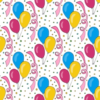 カラフルな風船とベクトル誕生日パターン。ホリデーカードとパーティーデコレーションのためのシームレスな背景