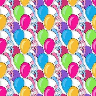 カラフルな風船とベクトル誕生日シームレスなパターン。ホリデーカードと祭りの装飾の背景