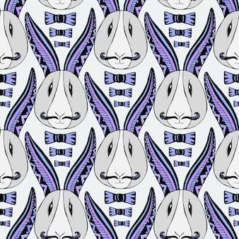 ヒップスターウサギのパターン。ベクトルの創造的な反復アート。テキスタイルやラッピングペーパー用のシームレスなプリント。