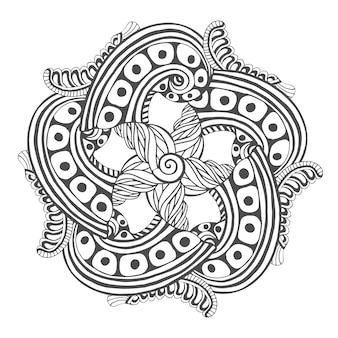 Мандала для раскраски. векторный орнамент шаблон тату дизайн