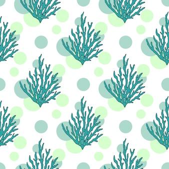 ベクトルの水中の海藻パターン。熱帯のサンゴとドットのシームレスな背景
