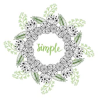 かわいい花のフレーム。ベクトルで落書きの花のパターン。パッケージングや本のデザインのための創造的な花の背景。