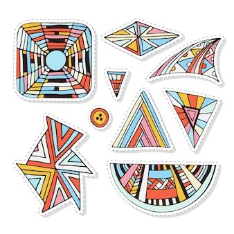 カラフルなステッカーを設定します。テキスタイル、パッチ、またはプリントデザイン用の幾何学的および装飾的なドールセット。