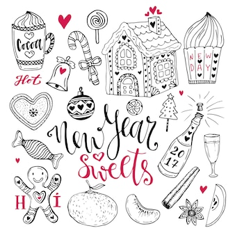 新年のお菓子セット。ココア、ジンジャーブレッドハウス、シャンパンでクリスマスの手描きのコレクション