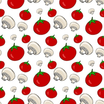 トマトとキノコと手描きのシームレスなパターン。ベクトル健康な野菜。メニューのイラスト