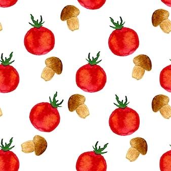 トマトとキノコと水彩のシームレスなパターン。ベクトル図