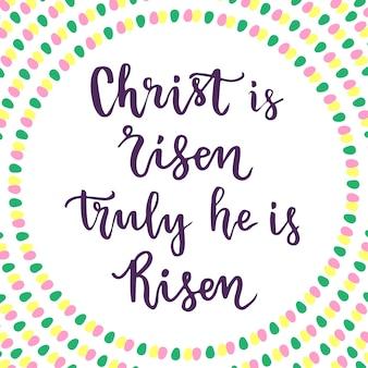 キリストは甦った。本当に彼は生まれました。イースターフレーズレターリング。