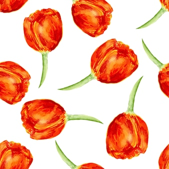 Цветочный бесшовные шаблон с тюльпанами. акварельная текстура тюльпанов. векторный фон