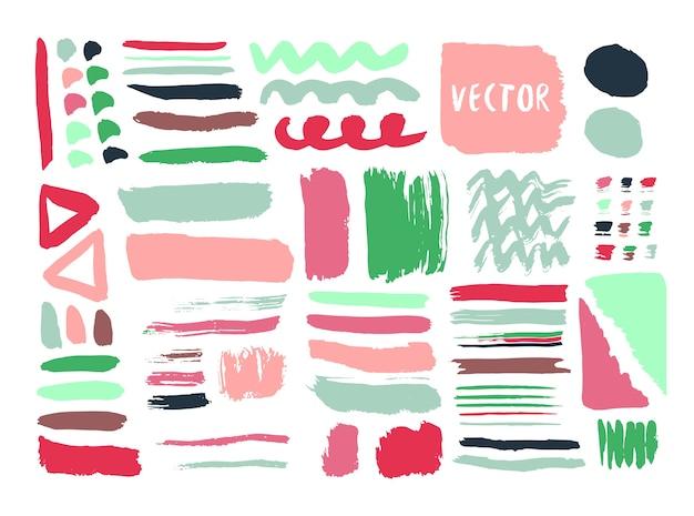鮮やかな手描きのテクスチャとインクでカラフルなブラシ。ベクトル要素。孤立したファッションセット。